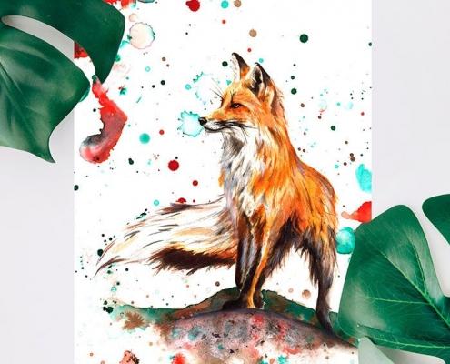 Illustration fait main renard roux