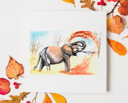 Illustration fait main éléphant