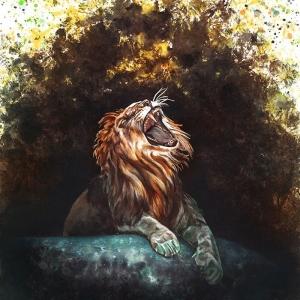 Illustration fait main lion rugissant