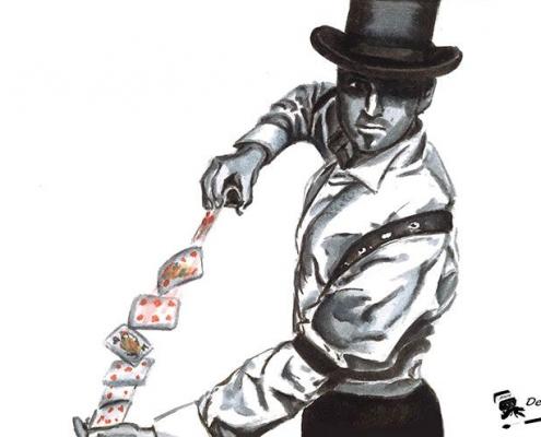 Illustration fait main magicien