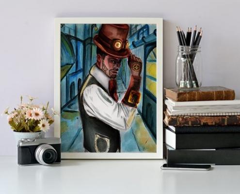 Illustration fait main portrait steampunk