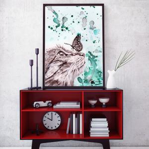 Illustration fait main chat et papillon
