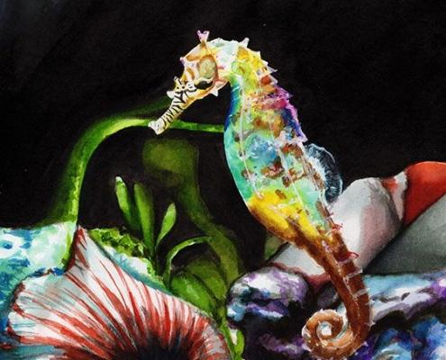 Illustration fait main hippocampe
