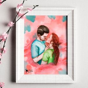 Illustration fait main couple