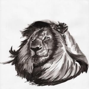 Illustration dessinée à la main lion noir et blanc
